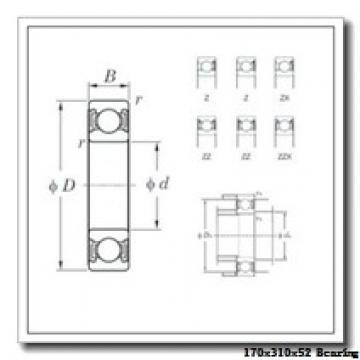 170 mm x 310 mm x 52 mm  NACHI 7234BDF angular contact ball bearings