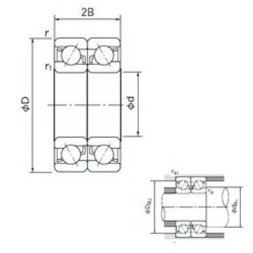 120 mm x 180 mm x 28 mm  NACHI 7024DB angular contact ball bearings